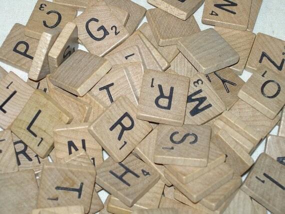 100 Wood Scrabble Letter Tiles Full Set Vintage Scrapbooking Jewelry Crafts -H