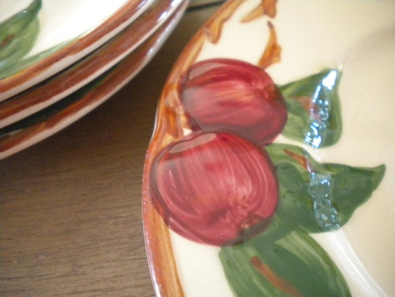 Franciscan Earthenware Apple pattern 3 Saucers 1 Bread Plate