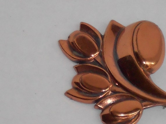Renoir Tulips Vintage Copper Brooch