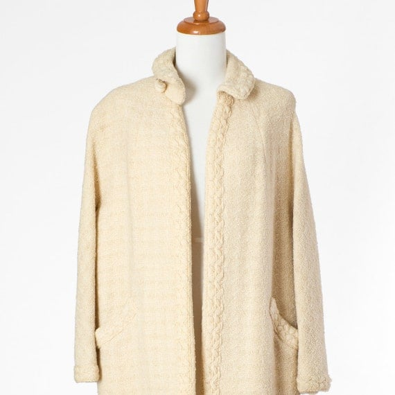 50s Vintage Coat Wool Cream White Long Medium Large