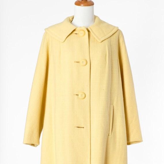 60s Vintage Coat Long Yellow Pastel Mad Men Large