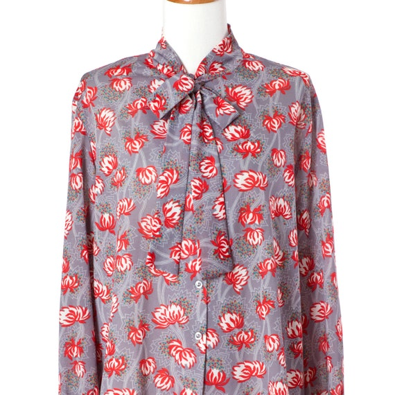 70s Vintage Secretary Blouse Red Grey Floral Print Pussycat Bow Long Sleeve Large