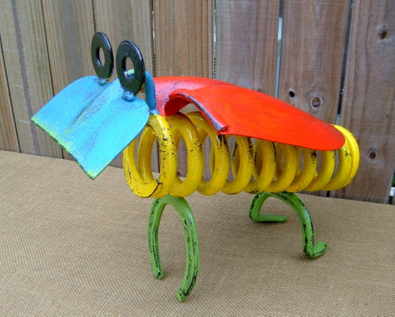 Bug Iron Art Home or Garden Decor, Handmade Gift, Decorative Metal Art from Found & Upcycled Items