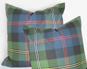 Robert Allen -Traditional plaid moors - navy red  - Decorative Pillow Cushion Cover - Accent Pillow - Throw Pillow