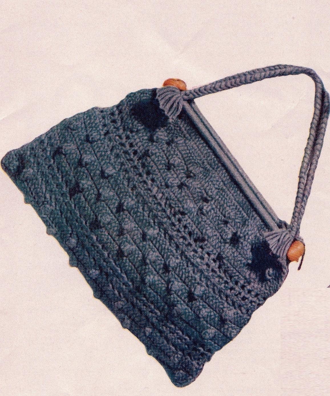 Knitting Bag Patterns Free : Crochet green knitting bag purse s vintage crocheting