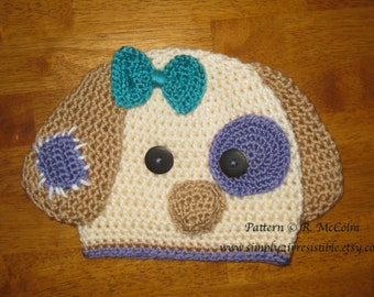 Patchy Puppy Hat Pattern - Crochet Pattern 18 - Beanie and Earflap Pattern - Newborn to Adult Sizes - INSTANT Download - US and UK Terms