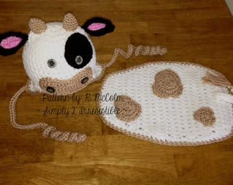 Cow / Bull Hat and Cape Crochet Pattern - Set 112 - US and UK Terms - Newborn to 6 Months