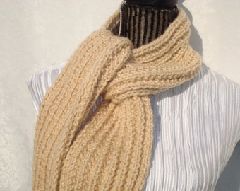 Knit  Beige Scarf.Sparkle. Winter.Soft.Warm. Ready  to  Ship.