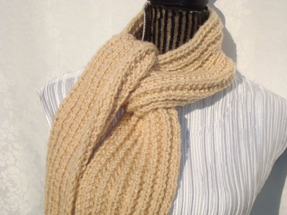 Knit  Beige Scarf.Sparkle. Winter.Warm. Ready  to  Ship.