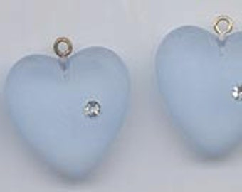 Six unusual and unusually beautiful vintage lucite heart pendants - 22 mm frosted light blue hearts with embedded rhinestone