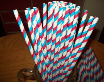 Retro Looking  Blue  Red &  White Striped Paper Drinking Straws 25