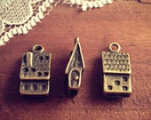 5 Pcs Cottage Charms Antique Bronze Small Charm House Charm Jewelry Supplies Home (BC061)