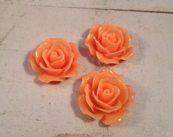 6 Pcs Light Orange Resin Flowers Vintage Style Plastic Rose Cabochon flowers Resin Roses 18x18x8mm