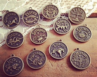 12 Pcs Zodiac Sign Charms Antique Bronze Star Sign Charm Zodiac Small Charm Vintage Style Pendant Charm Jewelry Supplies(AT229-AT240)