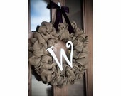 Burlap Wreath with Big Letter