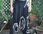 Black Baggy Pants...UNISEX...Black Cotton--- New---