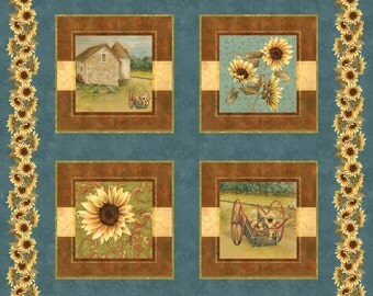 "CLEARANCE - Sunflower Farms - Sunflower Panel Block - Multi - Newcastle Fabrics - Novelty 35"" PANEL"