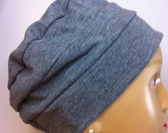 Grey Jersey Knit Hat