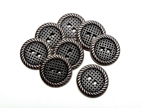 VINTAGE: 8 Solid Metal Buttons - Silver Tone