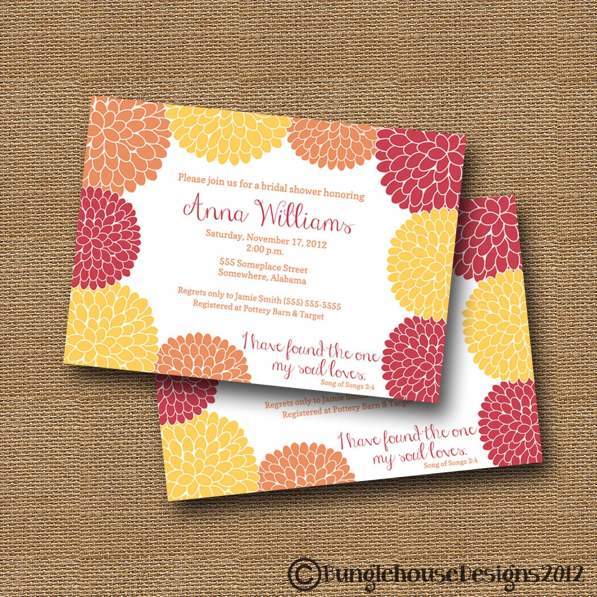 Bridal Shower Wedding Invitation DIY PRINTABLE Floral – Bible Verses for Wedding Invitation Cards