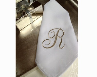 12 White Napkins with Embroidered Initial