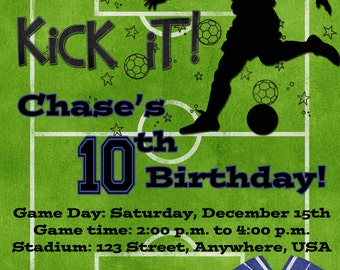 Soccer Birthday Party Invitation - Blue