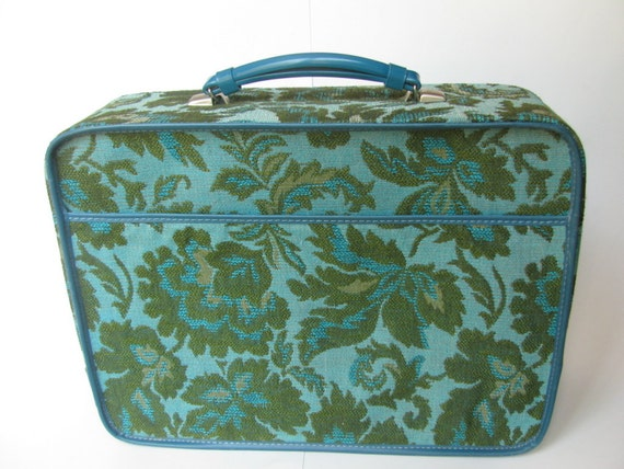 Retro Embroidered Blue and Green Suitcase
