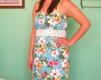 Reduced Price -Strapless Hawaiin Dress with Crochet tie belt