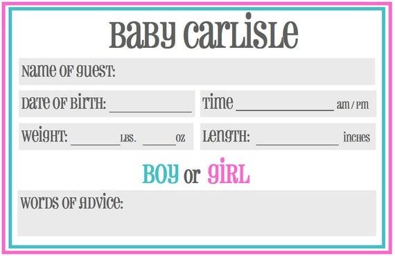 Printable Baby Shower Guessing / Prediction Cards: Gender Neutral or ...