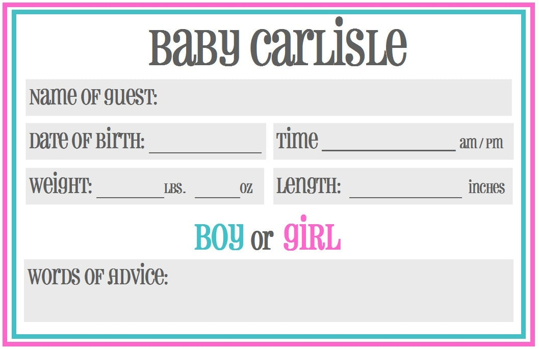 Printable baby shower guessing prediction cards gender for Guess the baby weight template