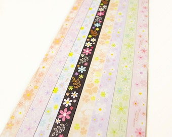 Origami Lucky Star Paper Strips Pastel Flower Mixed Print Star Folding DIY - Pack of 160 Strips