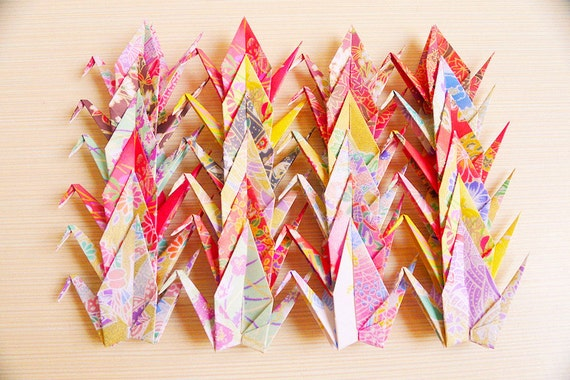 45 Small Japanese Chiyogami Paper Cranes in Assorted Design