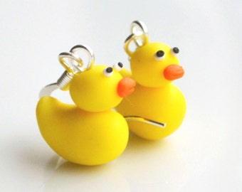 Rubber Duck Earrings, Fimo, Polymer Clay, Miniature, Yellow