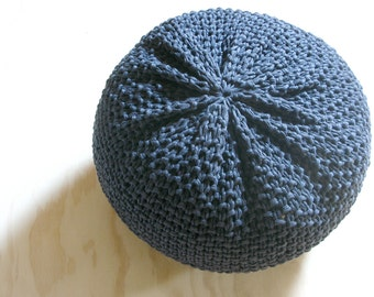 BUMS + FEET Knitted Pouf - ottoman, foot stool, floor pillow - made-to-order in jersey t-shirt yarn