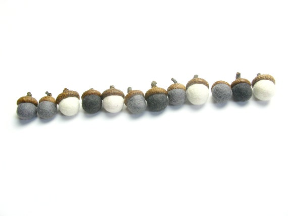 Felted Acorn Caps - handmade, felted acorn caps - decoration
