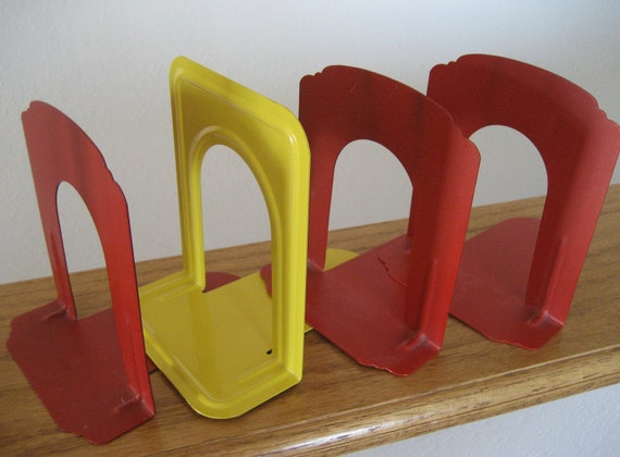 Vintage metal office bookshelf dividers Original red and