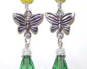 Silver Butterfly Earrings with Emerald Teardrop Crystal Beads
