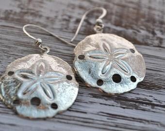 shiny silver sand dollar earrings