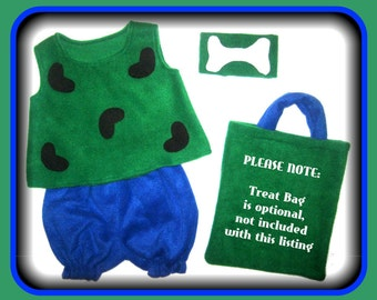 Pebbles Flintstones Halloween Costume Traditional Green & Royal Blue Set