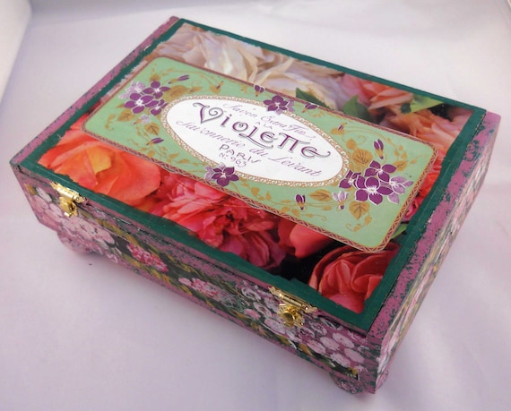 Altered Collage Cigar Box:  Floral Collage Mixed Media Jewelry Box with French Art Nouveau Perfume Labels