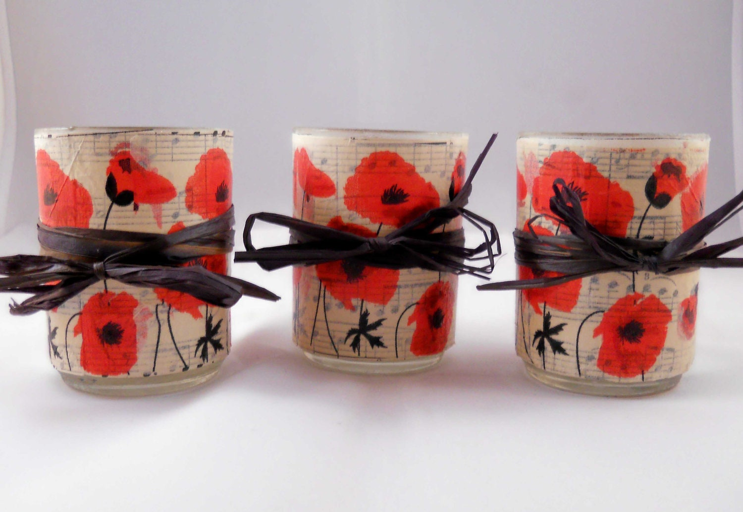 Decoupage Votive Candle Holder Set: Red Poppies
