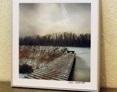 Winter Snow Lake Footbridge Fine Art Photography 17 x 17