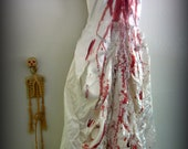 Bloody Horror Ivory Satin and Lace Gown with Ruffles.  Bloody Mary, Zombie Bride, Dead, Bloody Bride Horror Costume