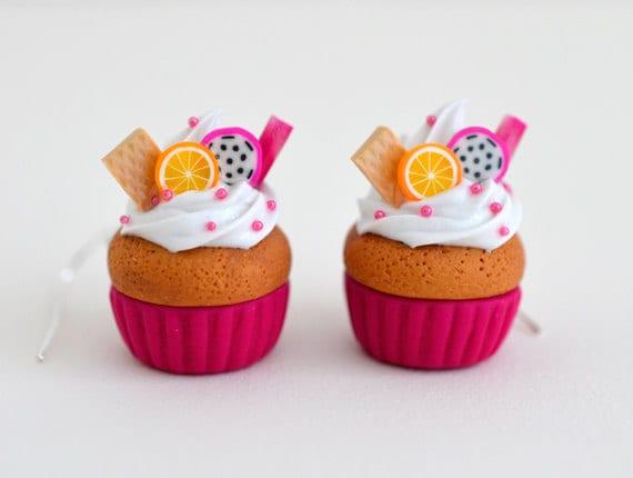 Kawaii Magenta Fruit Cupcake Earrings - Polymer Clay