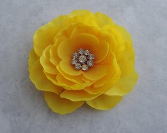 Bright Yellow Flower Hair Clip w/ Rhinestone - Girls / Womens Fascinator Hair Accessory  - Yellow Flower Brooch - Yellow Flower Hair Pin