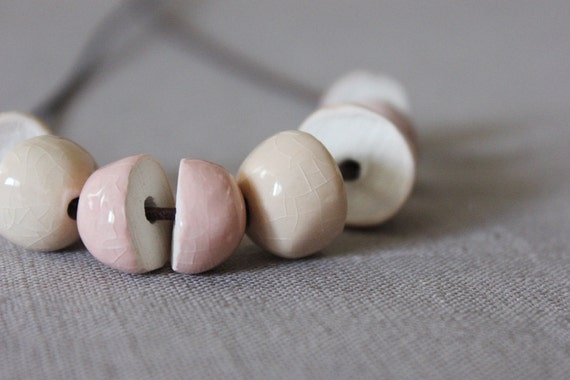 Pastel pink, nude pink and cream strand necklace - beadwork with handmade ceramic beads on a long brown leather cord