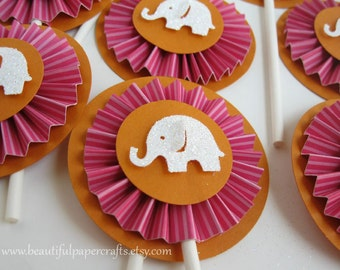 Pink and Orange  Elephant Cupcake Toppers- Elephant Party Decorations.Elephant Birthday Decorations...Set of 12