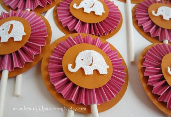 Elephant Birthday Plates: Pink And Orange Elephant Cupcake Toppers Elephant Party