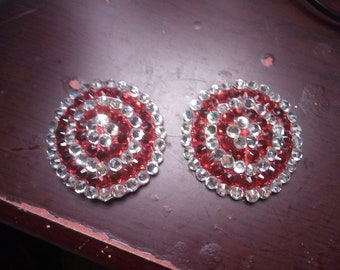Red and Silver Rhinestone Pasties Burlesque