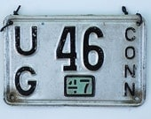 Antique 1947 Low Number License Plate, Antique 1947 License Plate, Vintage CT License Plate, Pair of Antique License Plate